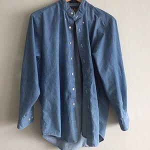 Ralph Lauren VTG Chaps Collarless Denim Shirt